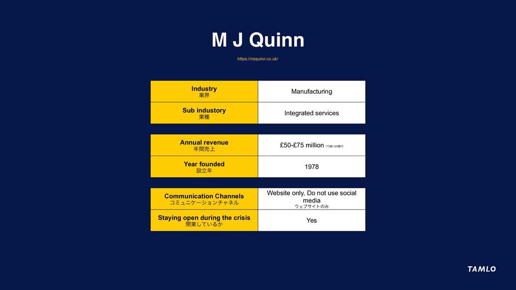 M J Quinn Industry ۀք Manufacturing Sub industo...