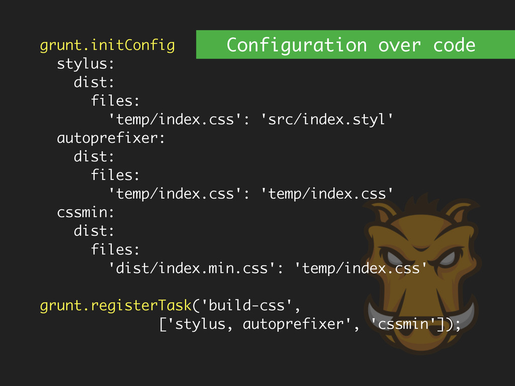 grunt.initConfig stylus: dist: files: 'temp/ind...