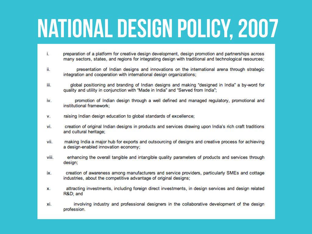 NATIONAL DESIGN POLICY, 2007