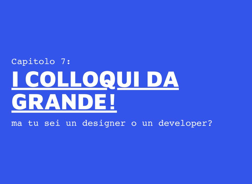 Capitolo 7: ma tu sei un designer o un develope...