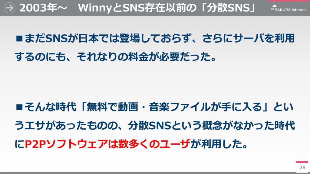 28 2003年~ WinnyとSNS存在以前の「分散SNS」 ■まだSNSが日本では登場して...