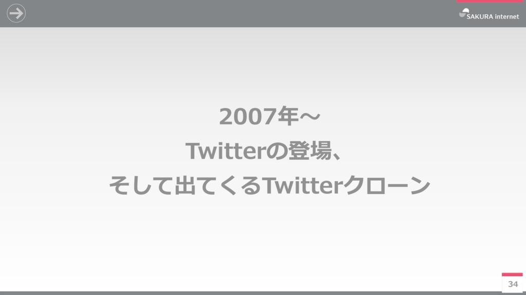 34 2007年~ Twitterの登場、 そして出てくるTwitterクローン 34