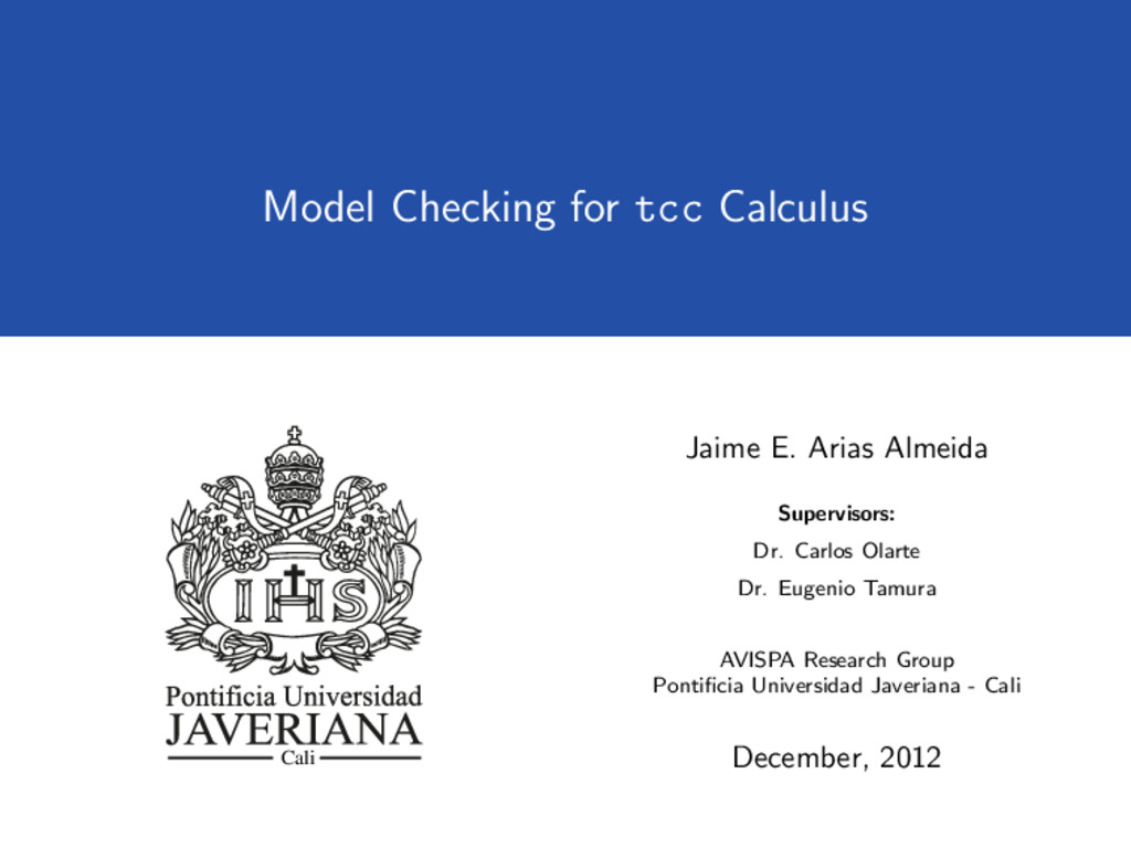 Model Checking for tcc Calculus Cali Jaime E. A...