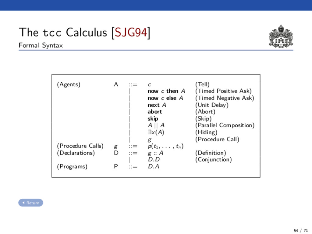 The tcc Calculus [SJG94] Formal Syntax (Agents)...