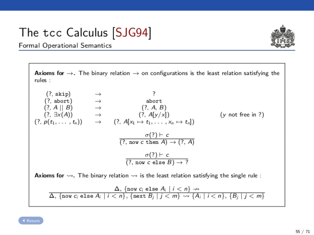 The tcc Calculus [SJG94] Formal Operational Sem...