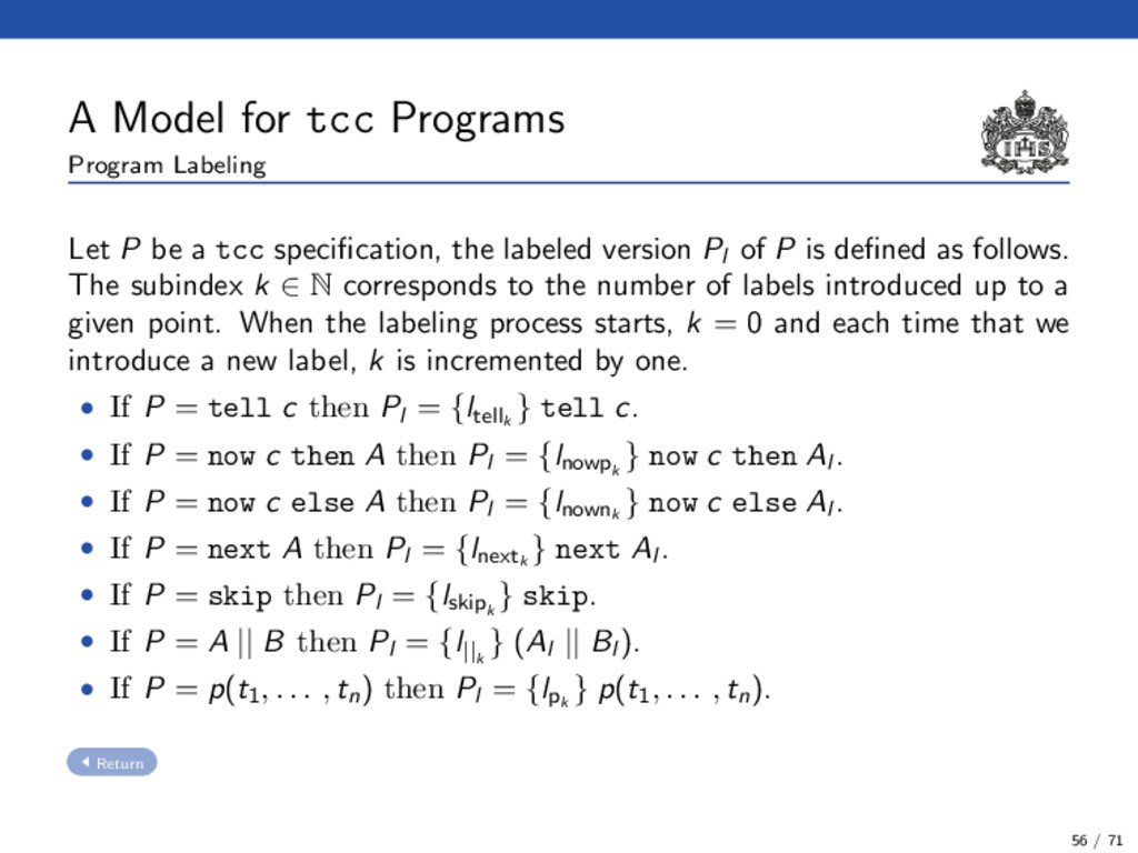 A Model for tcc Programs Program Labeling Let P...