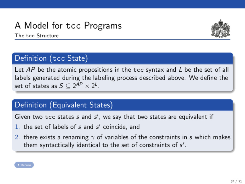 A Model for tcc Programs The tcc Structure Defin...