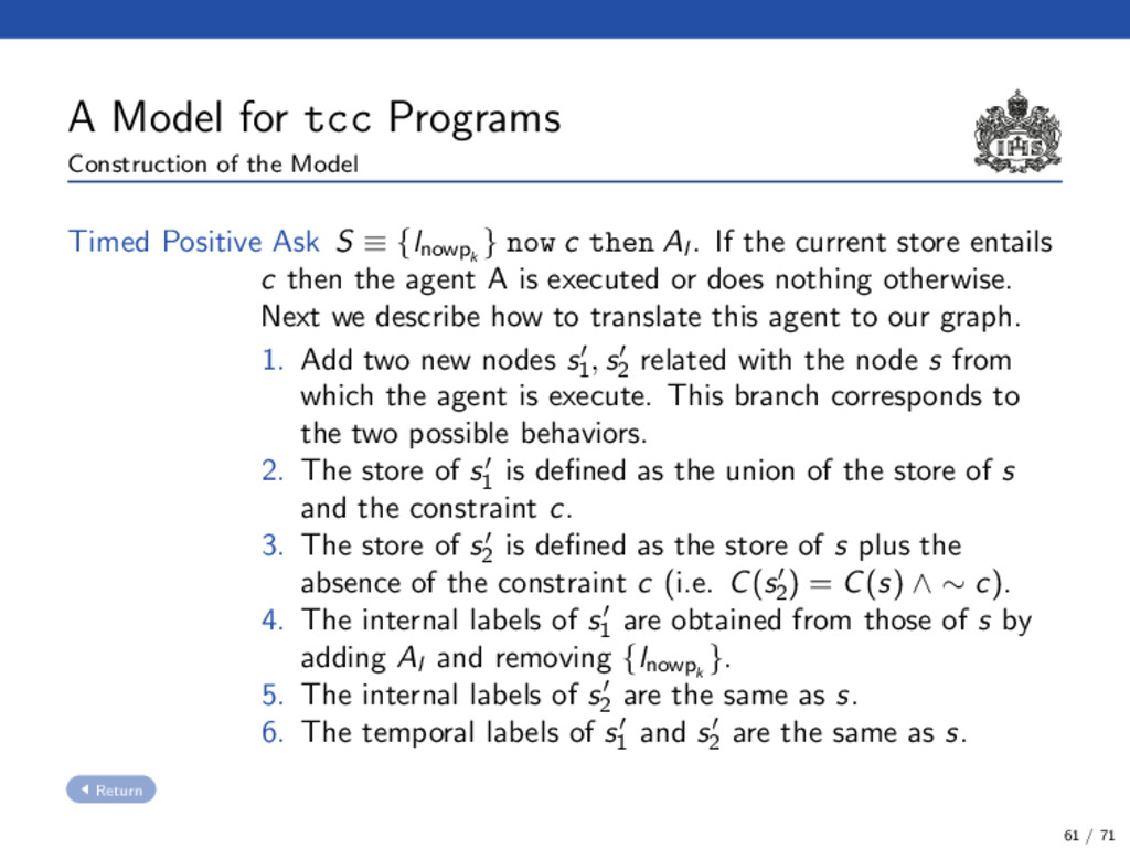 A Model for tcc Programs Construction of the Mo...