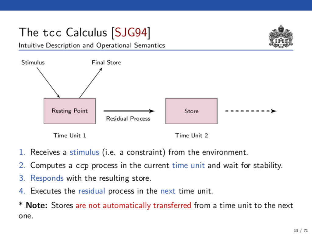 The tcc Calculus [SJG94] Intuitive Description ...