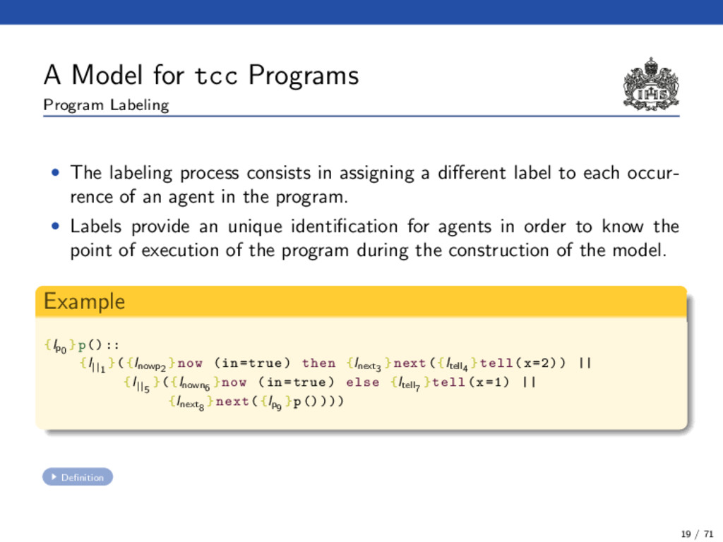 A Model for tcc Programs Program Labeling • The...