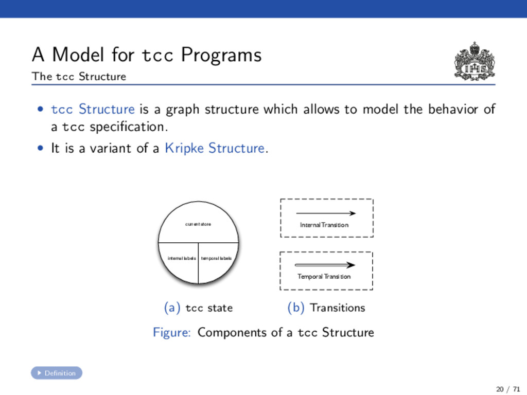 A Model for tcc Programs The tcc Structure • tc...
