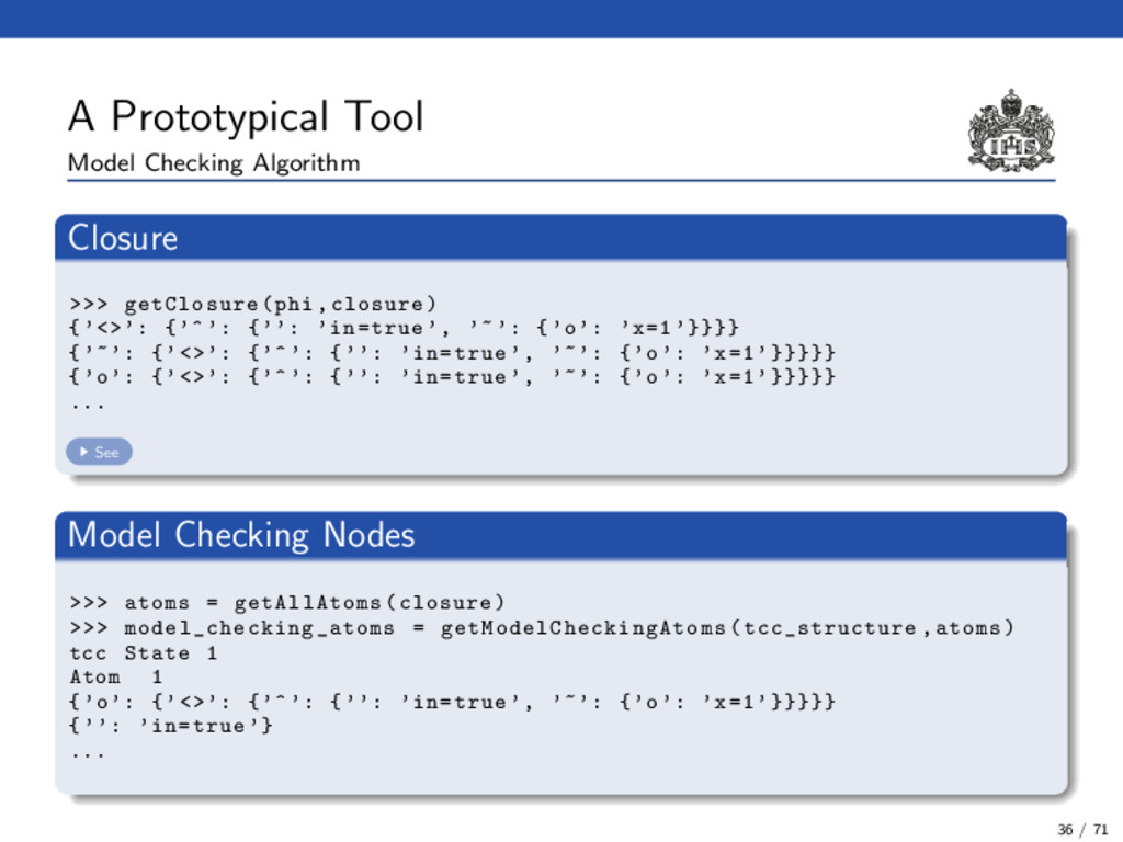 A Prototypical Tool Model Checking Algorithm Cl...