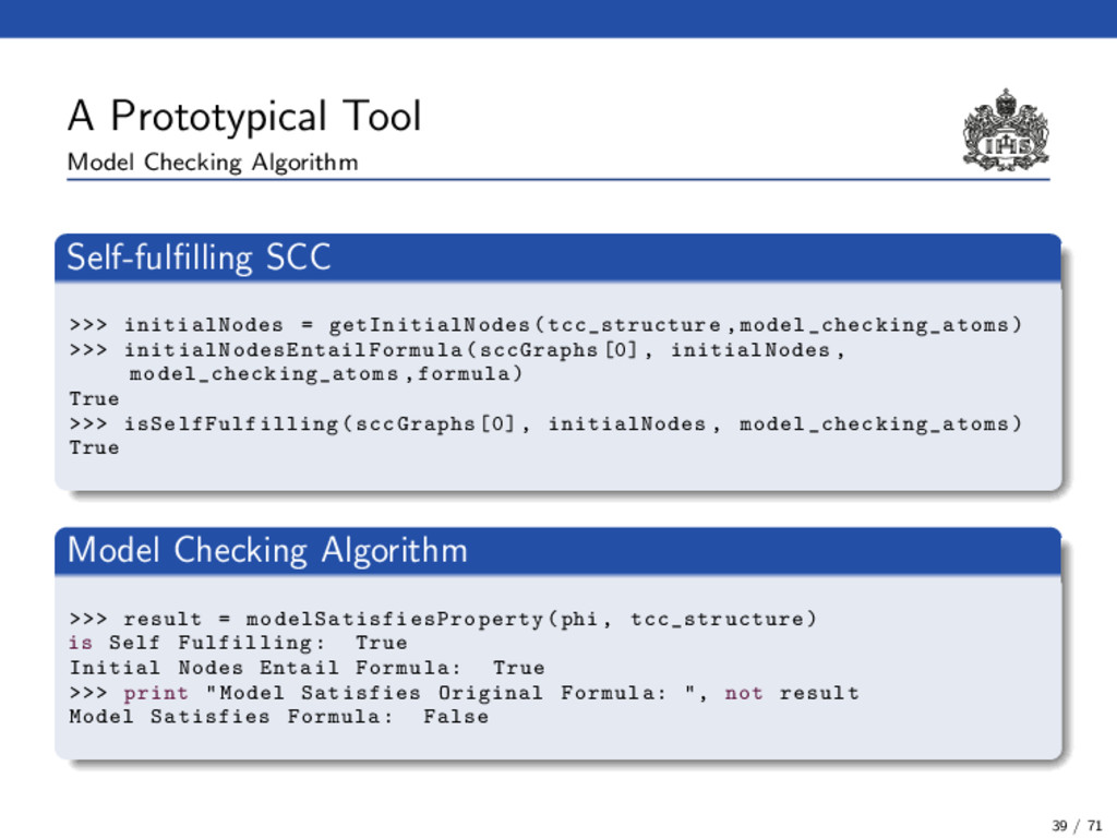A Prototypical Tool Model Checking Algorithm Se...