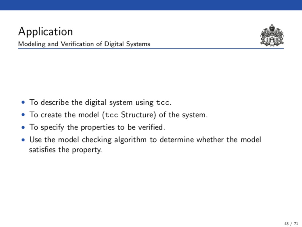Application Modeling and Verification of Digital...
