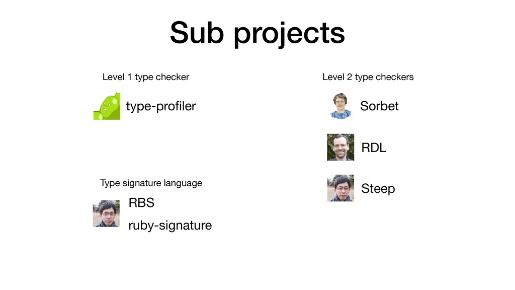 Sub projects type-profiler Steep Sorbet RDL Leve...