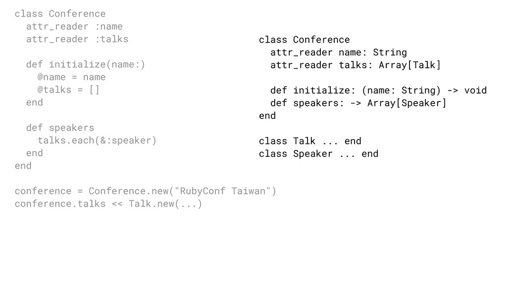 class Conference attr_reader name: String attr_...