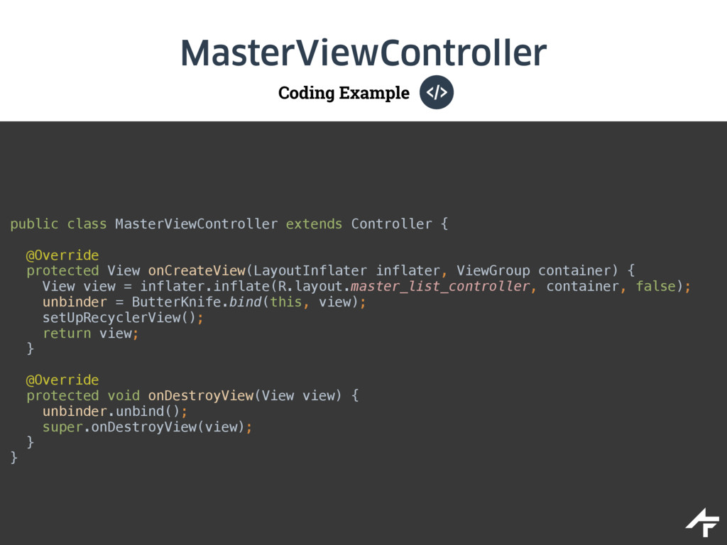 Coding Example MasterViewController public clas...