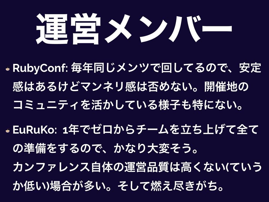 ӡӦϝϯόʔ  RubyConf: ຖಉ͡ϝϯπͰճͯ͠ΔͷͰɺ҆ఆ ײ͋Δ͚ͲϚϯωϦײ...
