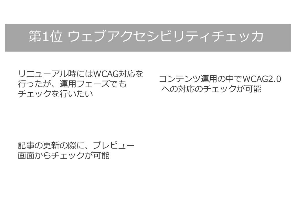 第1位 ウェブアクセシビリティチェッカ リニューアル時にはWCAG対応を ⾏ったが、運⽤フェー...