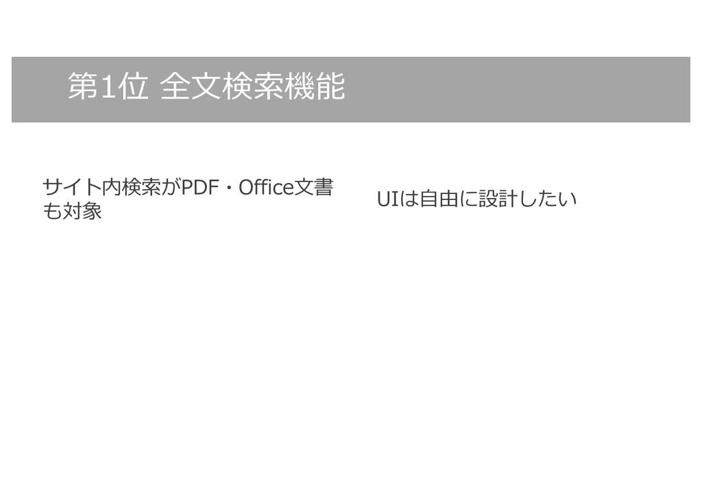 第1位 全⽂検索機能 サイト内検索がPDF・Office⽂書 も対象 UIは⾃由に設計したい