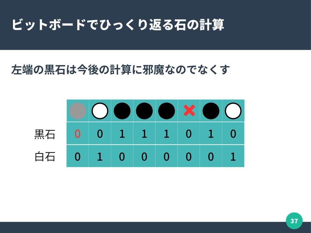 37 ビットボードでひっくり返る石の計算 左端の黒石は今後の計算に邪魔なのでなくす 0 0 1...