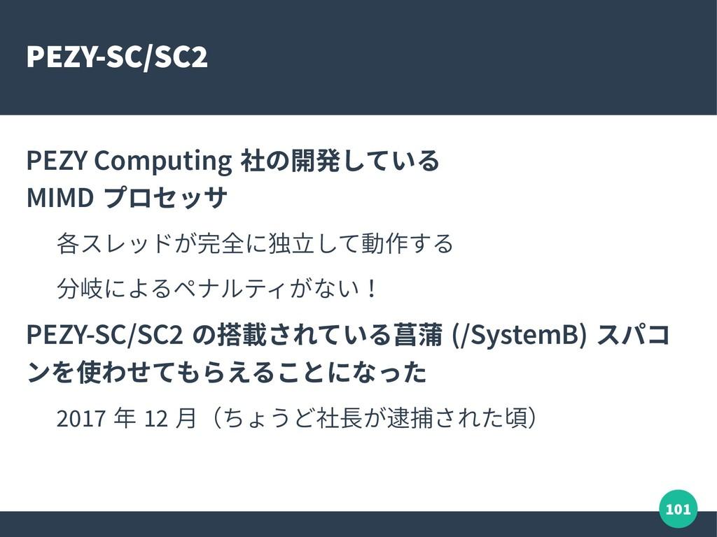 101 PEZY-SC/SC2 PEZY Computing 社の開発している MIMD プロ...