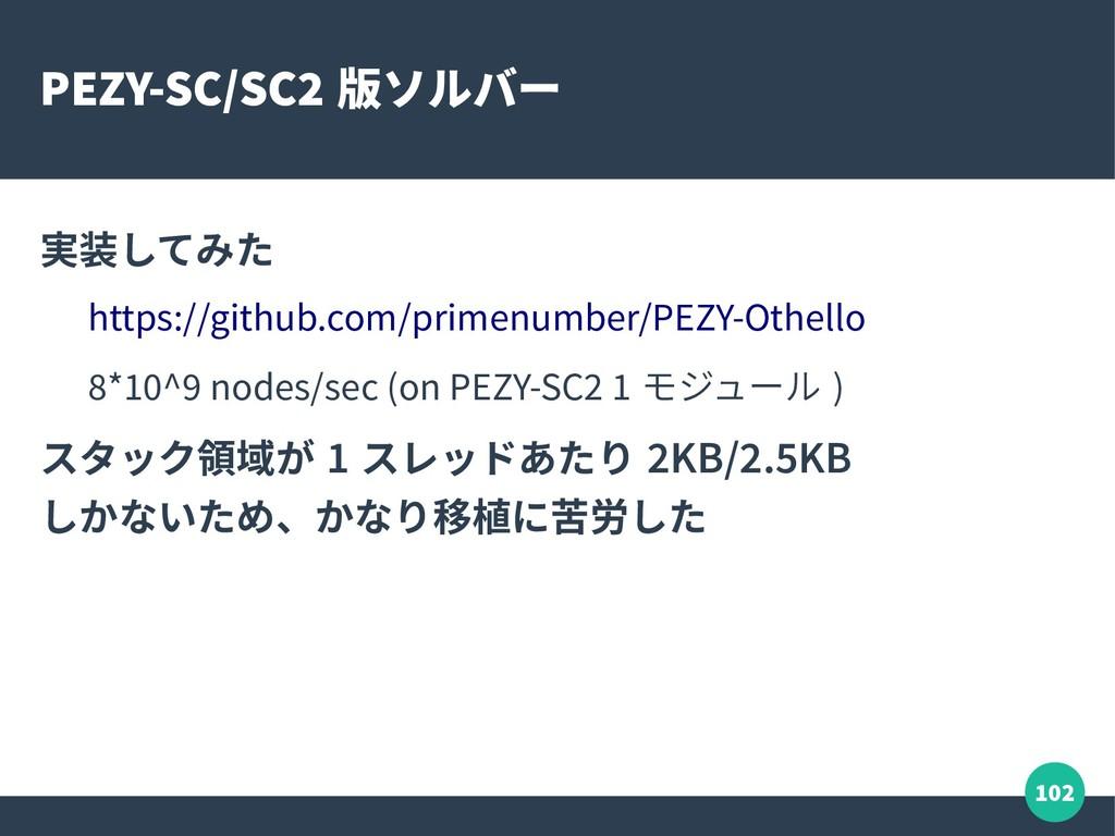 102 PEZY-SC/SC2 版ソルバー 実装してみた https://github.com...