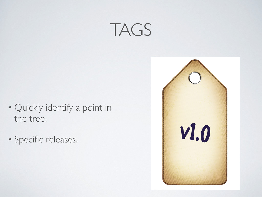 TAGS • Quickly identify a point in the tree. • ...