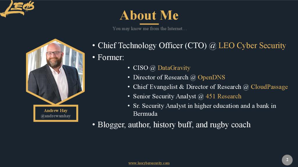 www.leocybersecurity.com 2 Andrew Hay @andrewsm...