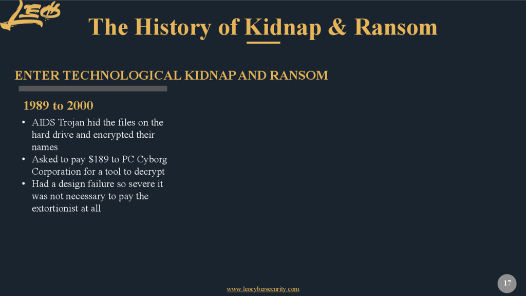 www.leocybersecurity.com 17 The History of Kidn...