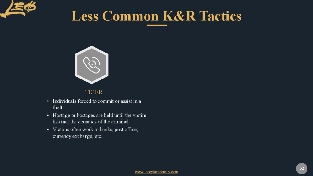 www.leocybersecurity.com 32 Less Common K&R Tac...