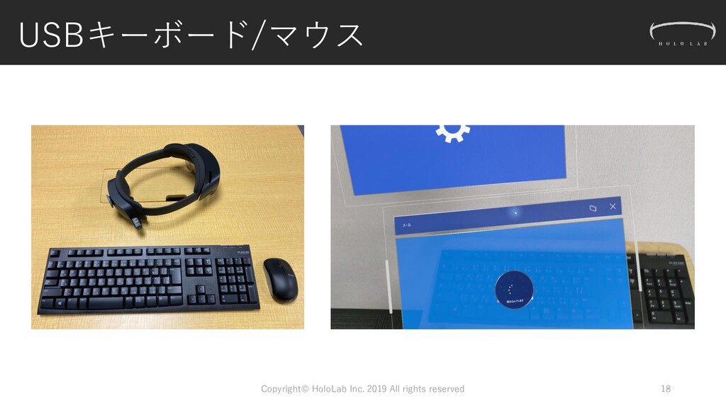 USBキーボード/マウス Copyright© HoloLab Inc. 2019 All r...