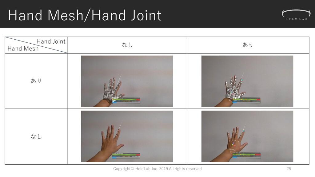 Hand Mesh/Hand Joint Hand Joint Hand Mesh なし あり...