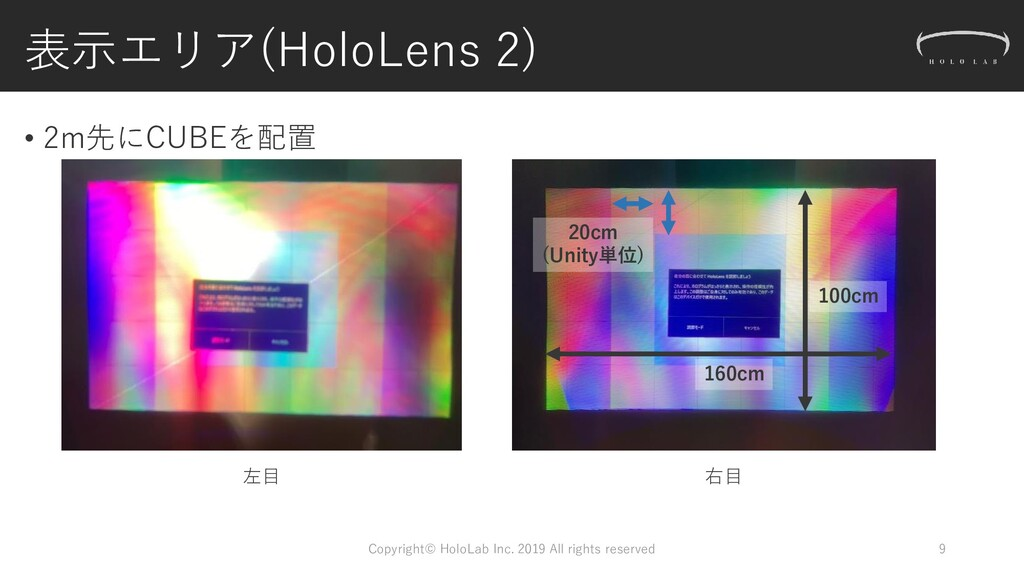 表示エリア(HoloLens 2) • 2m先にCUBEを配置 Copyright© Holo...