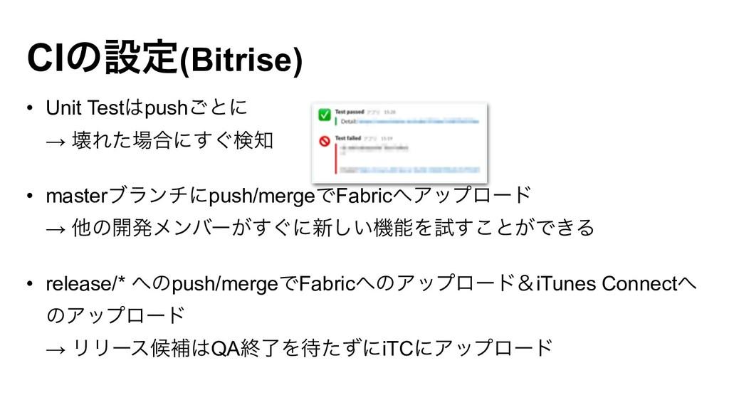 CIͷઃఆ(Bitrise) • Unit Testpush͝ͱʹ → յΕͨ߹ʹ͙͢ݕ...
