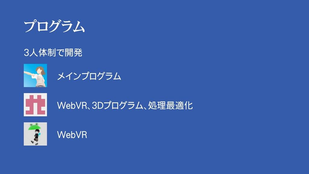 プログラム 3人体制で開発 メインプログラム WebVR、3Dプログラム、処理最適化 WebVR
