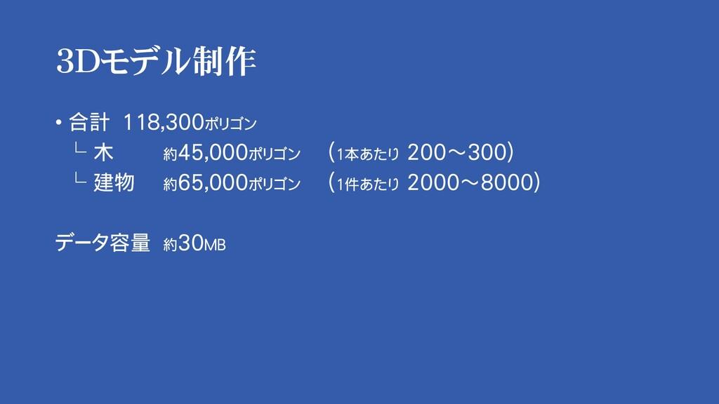 3Dモデル制作 • 合計 118,300ポリゴン └ 木 約45,000ポリゴン (1本あたり...