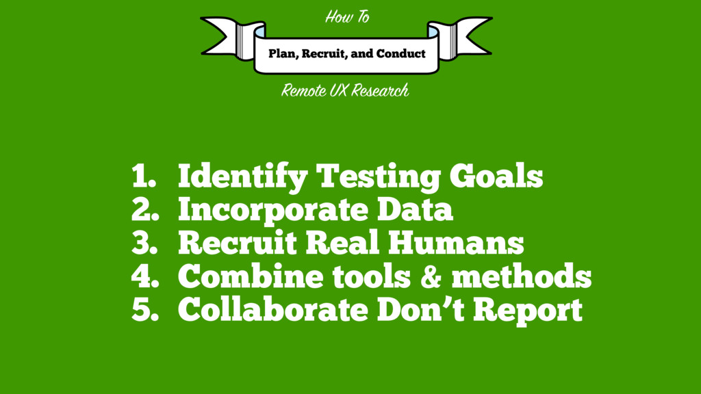 1. Identify Testing Goals 2. Incorporate Data 3...