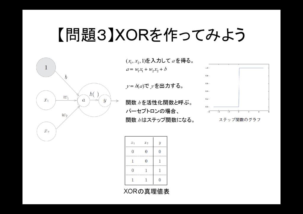 【問題3】XORを作ってみよう 。 はステップ関数になる 関数 、 パーセプトロンの場合 を活...