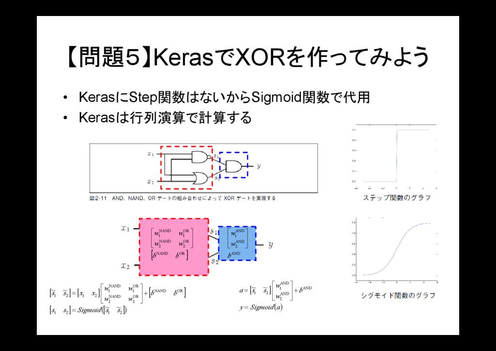 【問題5】KerasでXORを作ってみよう • KerasにStep関数はないからSigmoi...