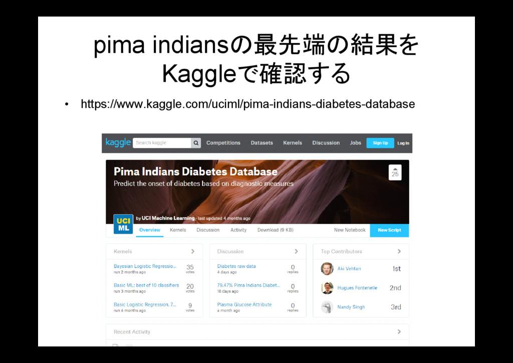 pima indiansの最先端の結果を Kaggleで確認する • https://www....