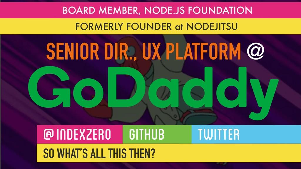 SENIOR DIR., UX PLATFORM @ GoDaddy BOARD MEMBER...