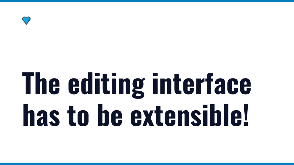 The editing interface has to be extensible!