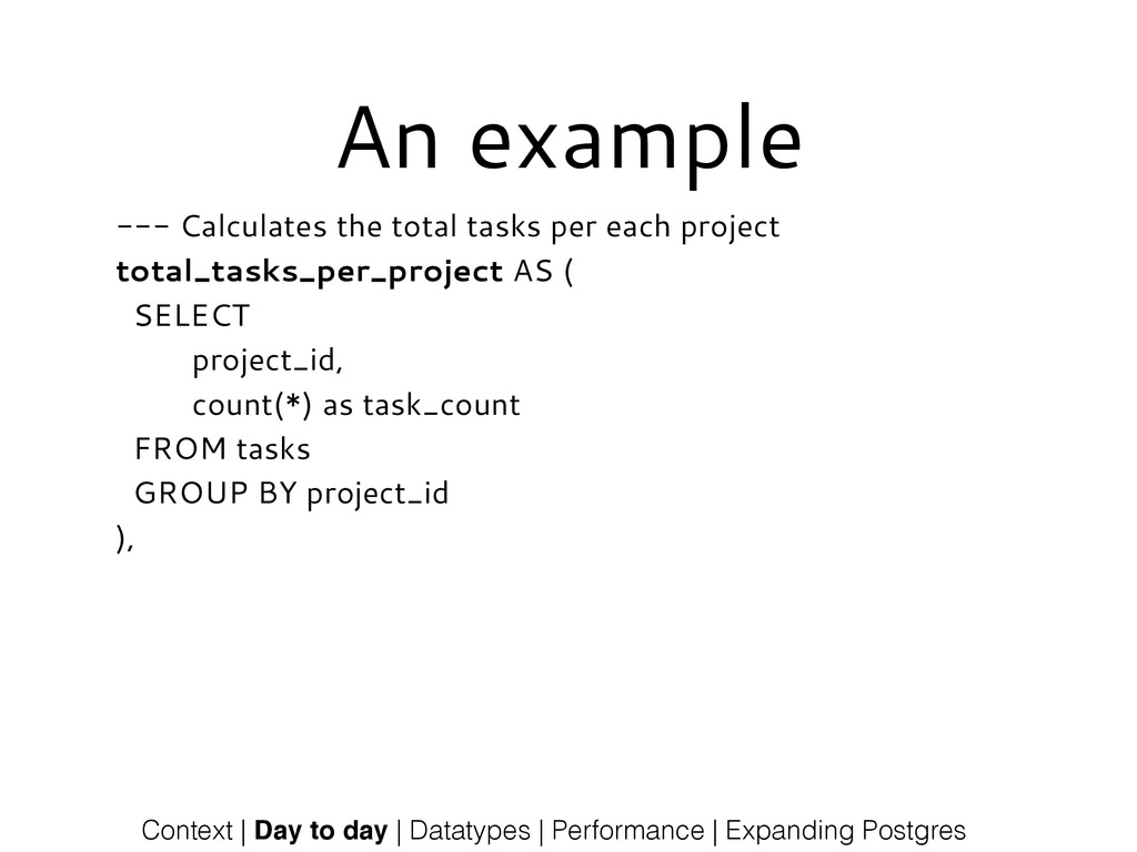 An example --- Calculates the total tasks per e...