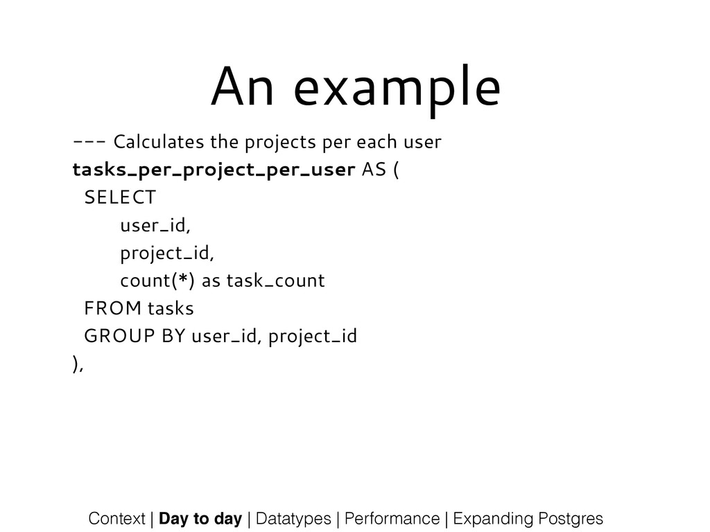 An example --- Calculates the projects per each...