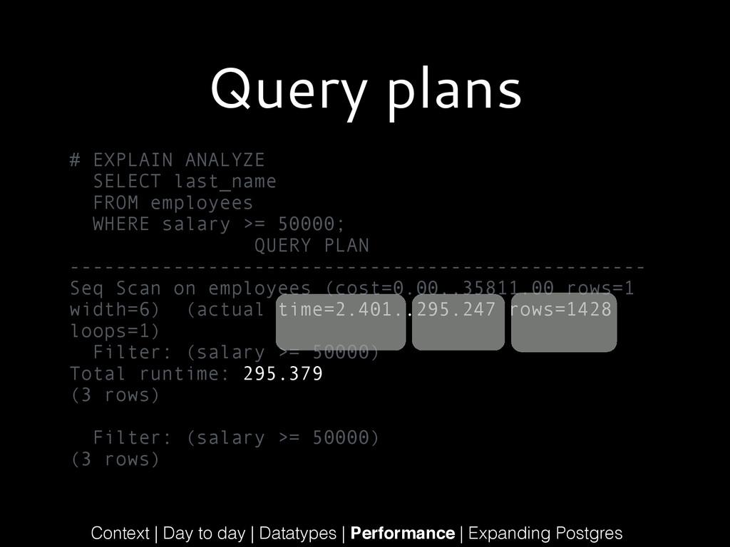 Query plans # EXPLAIN ANALYZE SELECT last_name ...