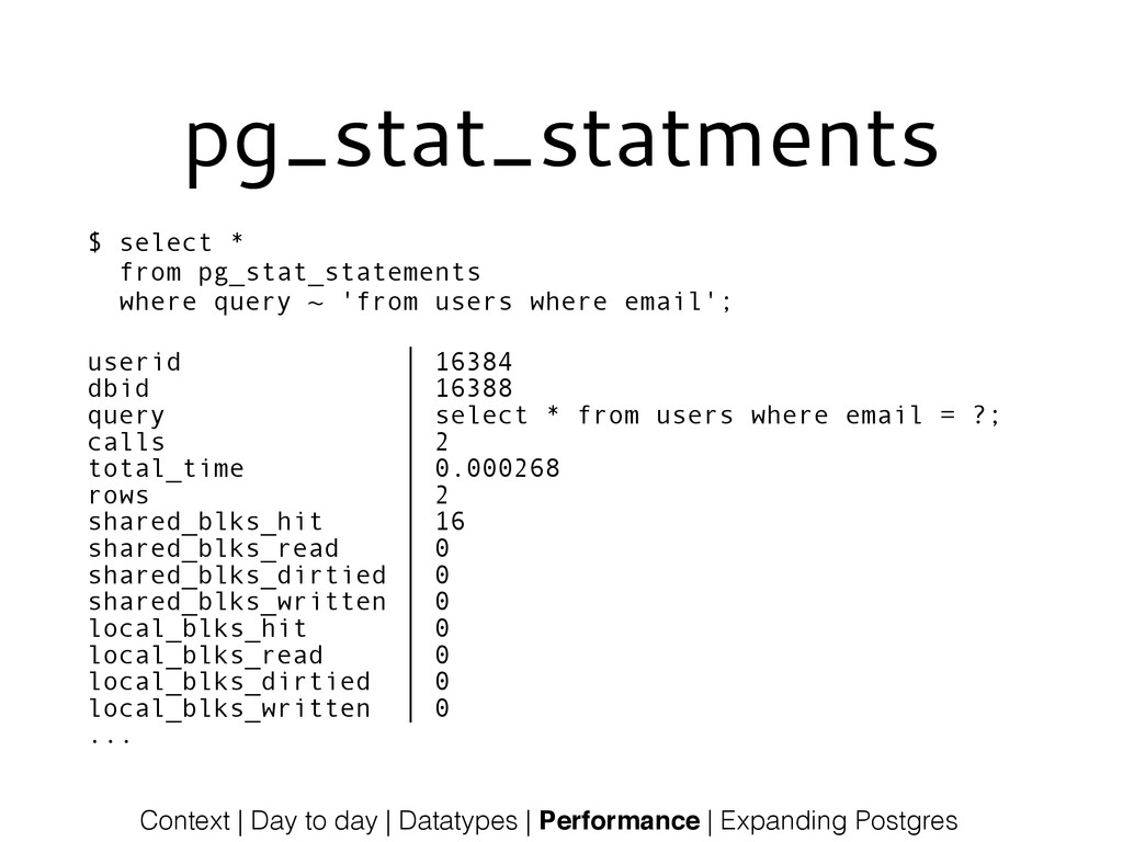 pg_stat_statments $ select * from pg_stat_state...