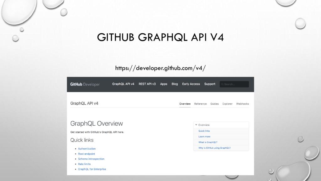 GITHUB GRAPHQL API V4 https://developer.github....