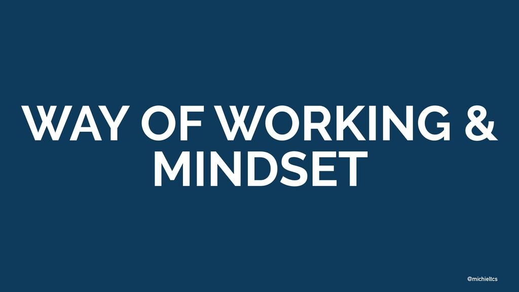 @michieltcs WAY OF WORKING & MINDSET