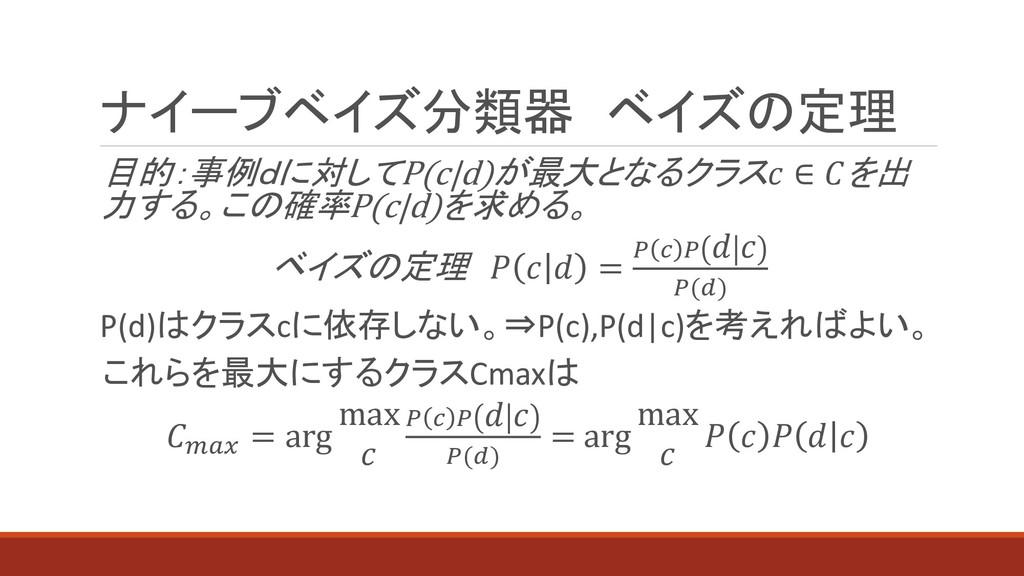 ナイーブベイズ分類器 ベイズの定理 目的:事例dに対してP(c d)が最大となるクラス ∈ を...